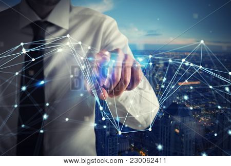 Businessman Works With Futuristic Internet Network Interface