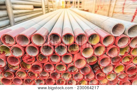 Steel Pipe For Scaffolding At Stock Area.