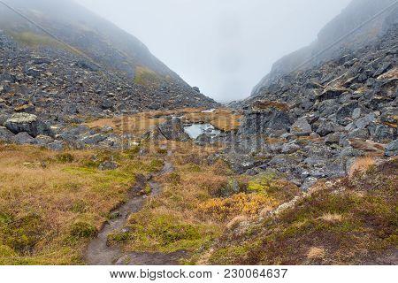 Alaskan Below Clouds Creek Creeping Fog Foggy Grass Ground High Hiking Leading Meadow Mist Morning M