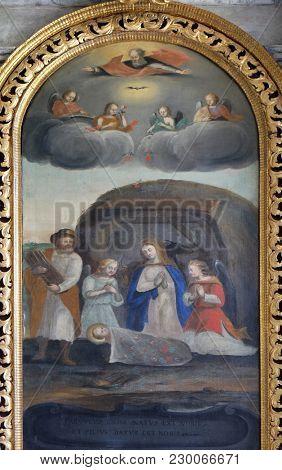 AMORBACH, GERMANY - JULY 08: Birth of Jesus, altarpiece in chapel Amorsbrunn in Amorbach, Forest of Odes Bavaria, Germany on July 08, 2017.
