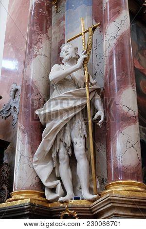 AMORBACH, GERMANY - JULY 08: Saint John the Baptist statue on the altar in Benedictine monastery church in Amorbach, Germany on July 08, 2017.