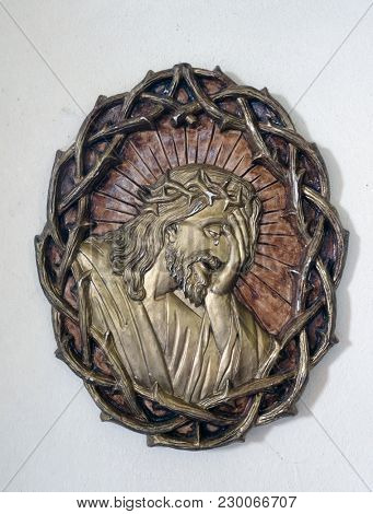 AMORBACH, GERMANY - JULY 08: Christ crowned with thorns, chapel Amorsbrunn in Amorbach, Forest of Odes Bavaria, Germany on July 08, 2017.