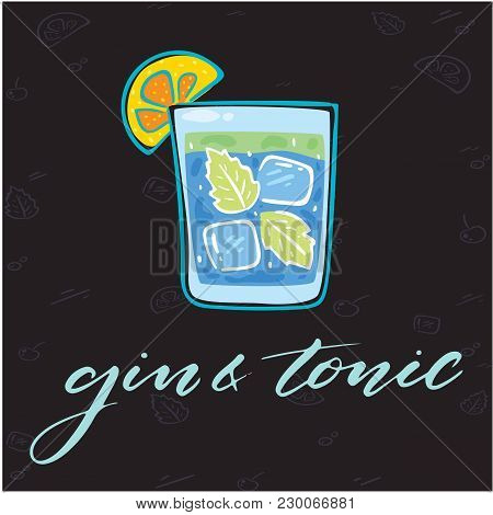 Gin & Tonic Glass Of Cocktail Background Vector Image