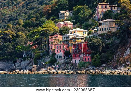 Small bay and colorful houses among green trees on background on Mediterranean sea in Liguria, Italy.