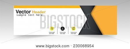 Abstract Black Yellow Triangle Header Design Background Vector Image