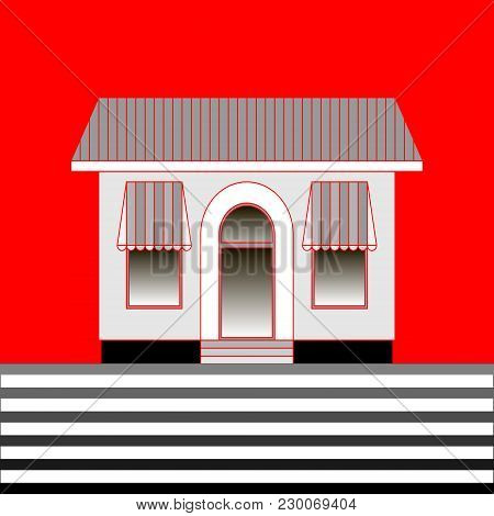 The Facade Of A One-story Building Shop Or Cafe On A Red Background. Vector Illustration In Flat Sty