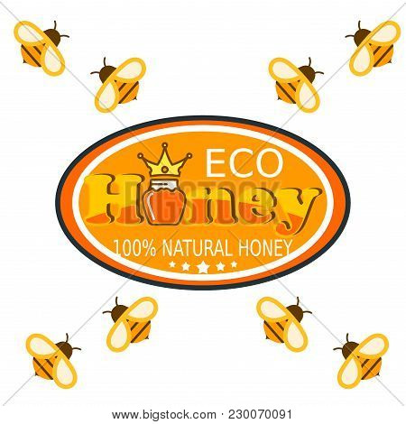 Set Bee Logo Labels For Honey Logo Products Organic Farm Emblem Natural Sweet Product Hight Quality