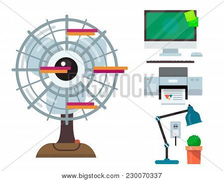 Computer Office Equipment Technic Gadgets Modern Workplace Communication Device Monitor Printer Keyb