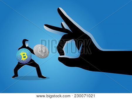 Vector Illustration Of A Giant Hand Flicking Away A Businessman Holding Bitcoins