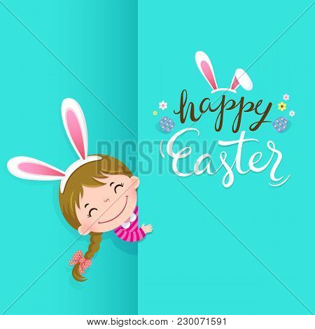 Happy Easter Greeting Card With Cute Girl