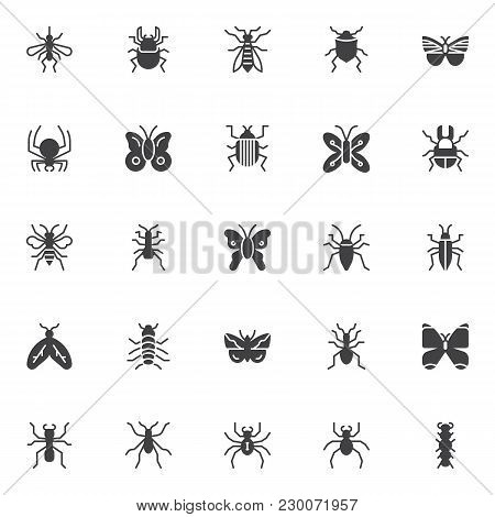 Bugs And Insects Vector Icons Set, Modern Solid Symbol Collection, Filled Style Pictogram Pack. Sign