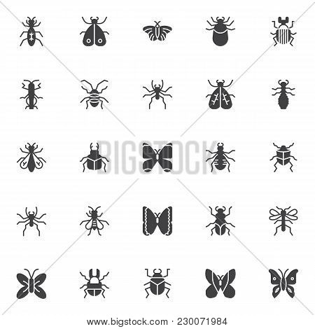 Insects And Bugs Vector Icons Set, Modern Solid Symbol Collection, Filled Style Pictogram Pack. Sign
