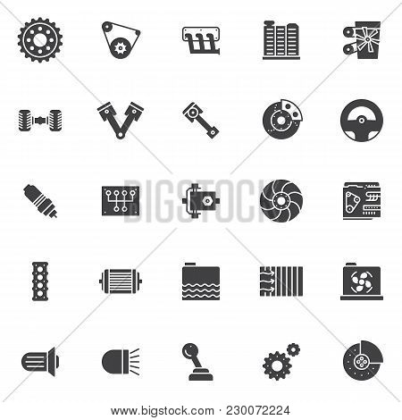 Car Engine Vector Icons Set, Modern Solid Symbol Collection, Filled Style Pictogram Pack. Signs, Log