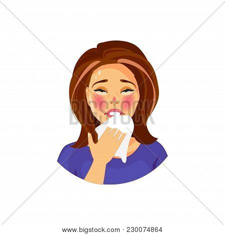 Sick And Sneeze Girl. Flu And Cold. Vector Illustration