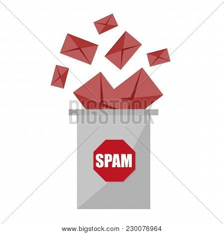 Envelopes And Spam Basket - No Spam Vector Illustration. Stop Spam Graphic Design - Creative Concep