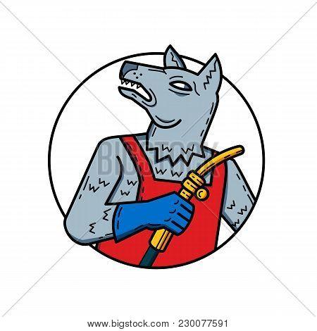 Mono Line Illustration Of Wild Dog, Wolf Or Dog Welder, ,ironworker, Pipefitter, Boilermaker, Or Mil