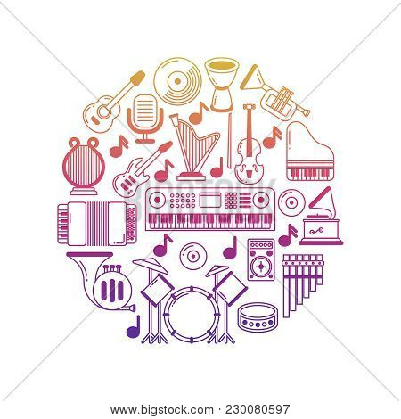 Bright Vector Music Poster With Musical Instruments Icons In Round Illustration