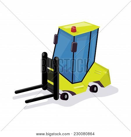 Funny Cartoon Loader. Equipment For The Warehouse. Animation Style.