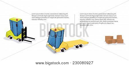 Construction Machinery Banners For Warehouse And Logistics.  Funny Cartoon Style.