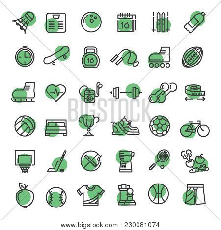 Sports And Fitness Outline Symbols Sports Equipment Thin Line Vector Icons Collection On White Backg