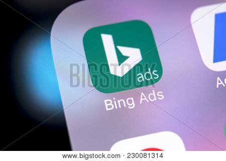 Sankt-petersburg, Russia, March 8, 2018: Microsoft Bing Application Icon On Apple Iphone X Screen Cl