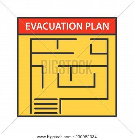 Evacuation Plan Color Icon. Fire Escape Plan. Isolated Vector Illustration