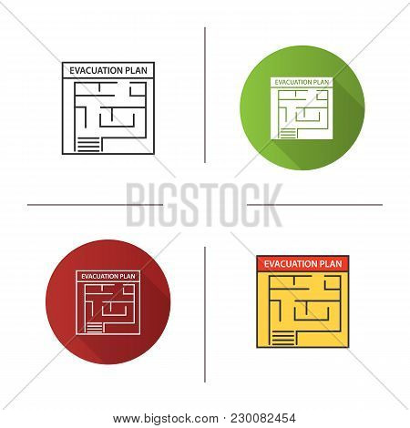 Evacuation Plan Icon. Flat Design, Linear And Color Styles. Fire Escape Plan. Isolated Vector Illust