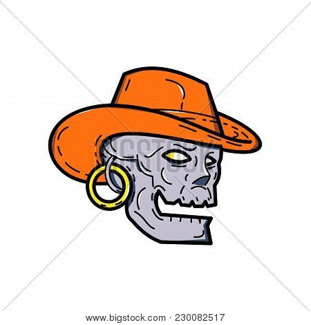 Mono Line Illustration Of A Pirate Skull Wearing A Cowboy  Hat And Earring Looking To Side On Isolat