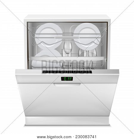 Vector 3d realistic dishwasher machine with digital display, with open door, filled with clean plates and glasses, front view isolated on background. Modern household appliance for washing dishes poster