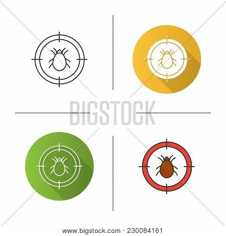 Mite Target Icon. Flat Design, Linear And Color Styles. Parasitic Insects Repellent. Isolated Vector