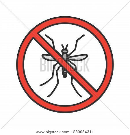 Stop Mosquitos Sign Color Icon. Flying Insects Repellent. Pest Control. Isolated Vector Illustration