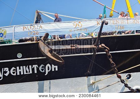 Kaliningrad, Russia - June 19, 2016: Anchor Of The Historical Barque Kruzenshtern (prior Padua) Moor