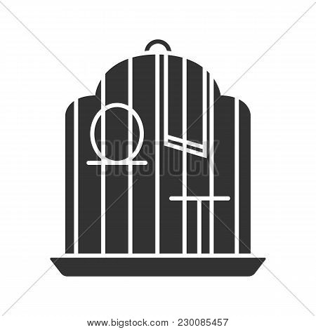 Birdcage Glyph Icon. Parrot Cage. Silhouette Symbol. Negative Space. Vector Isolated Illustration