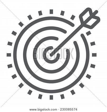 Target Line Icon, Development And Business, Dartboard Sign Vector Graphics, A Linear Pattern On A Wh