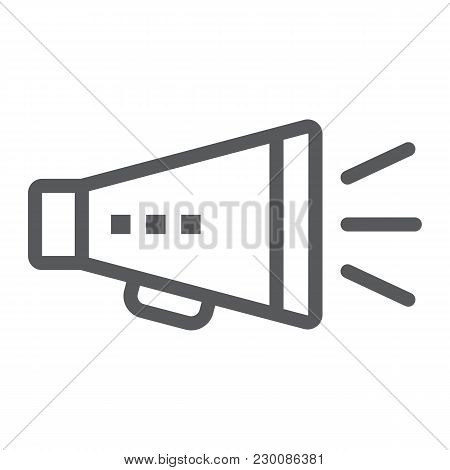 Promotion Line Icon, Development And Business, Loudspeaker Sign Vector Graphics, A Linear Pattern On
