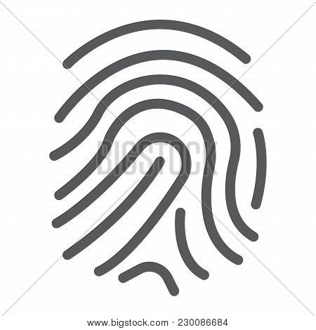 Finger Print Line Icon, Development And Business, Branding Sign Vector Graphics, A Linear Pattern On