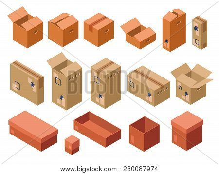 Vector Isometric Shipping Package Cardboard Boxes Set. Open Closed Delivery Parcel Containers, 3d Wa
