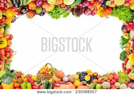 Frame healthy fruits and vegetables isolated on white background.