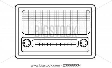 Black And White Old Retro Antique Vintage Rectangular First Hipster Radio, Music Radio Receiver Pain