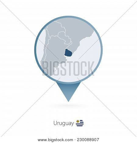 Map Pin With Detailed Map Of Uruguay And Neighboring Countries.