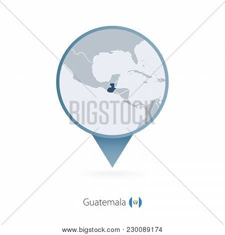 Map Pin With Detailed Map Of Guatemala And Neighboring Countries.
