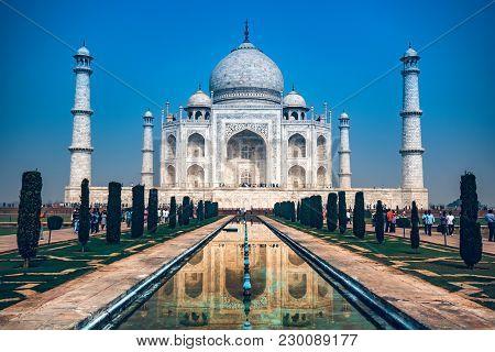 Agra, India - November 8, 2017: Beautiful View Of Taj Mahal From The Bank Of Yamuna In Agra, India