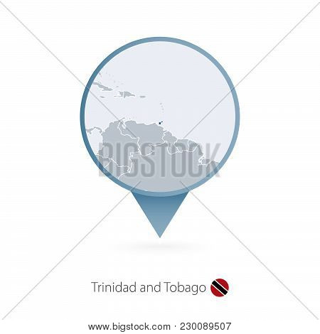 Map Pin With Detailed Map Of Trinidad And Tobago And Neighboring Countries.