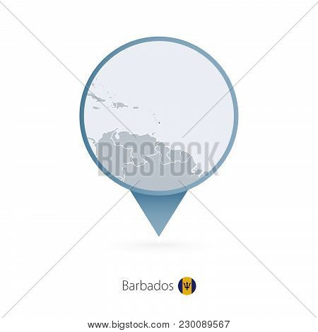 Map Pin With Detailed Map Of Barbados And Neighboring Countries.