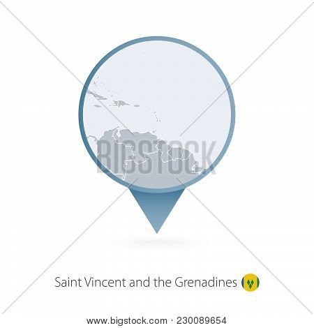 Map Pin With Detailed Map Of Saint Vincent And The Grenadines And Neighboring Countries.