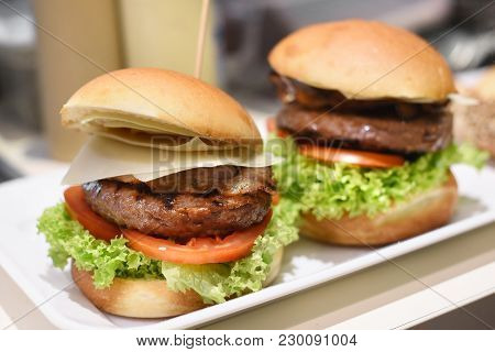 Ready To Eat Hamburgers Served On A Tray