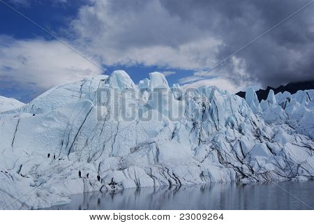 Melting Alaskan glacier & clmbers