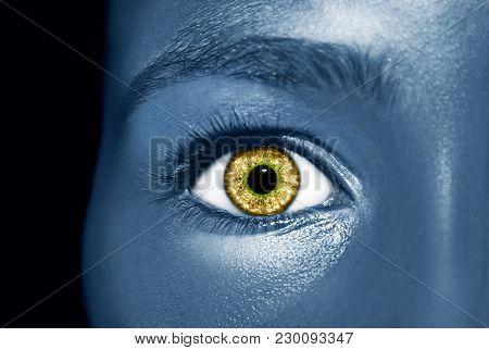 Glamour Shiny Blue Professional Makeup. Beautiful Metallic Skin Close Up