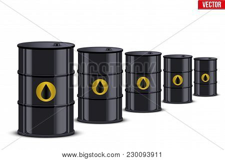 Oil Barrel In Row. The Rise In Price And Cheaper Petroleum. Vector Illustration Isolated On White Ba