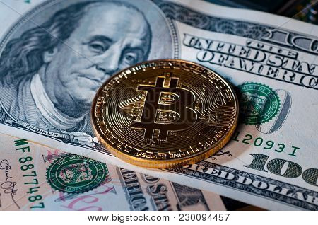 Bitcoins And Us Dollars Money As Background